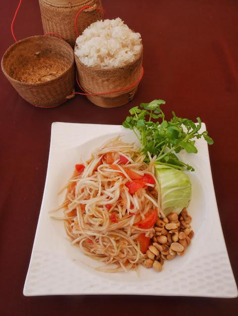 sticky rice and papaya salad lao food