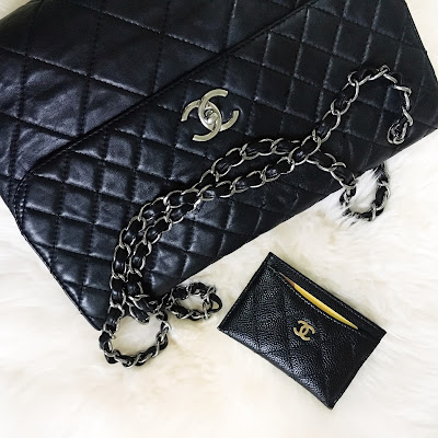chanel in the business lambskin large jumbo flap bag with shw silver hardware chanel caviar card holder cardholder ghw gold hardware thrifted chanel thrifting cheap chanel