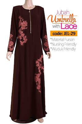 Jubah Umbrella Lace JEL-29 Brown Depan 2