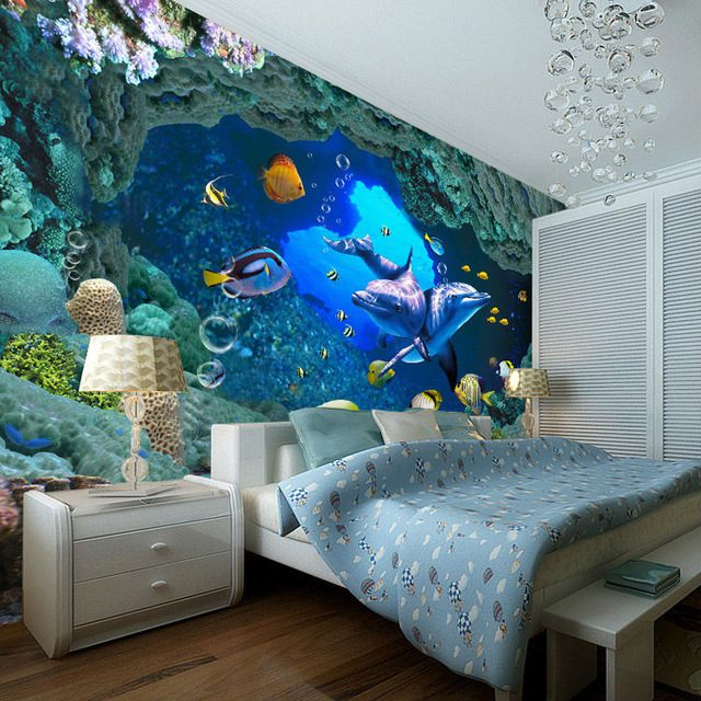 Dolphin Wall Mural Under Sea 3D