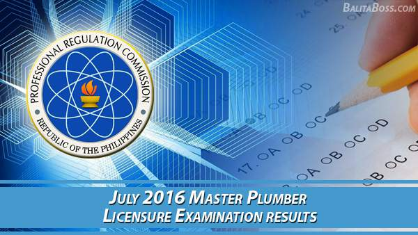 Master Plumber July 2016 Board Exam Results