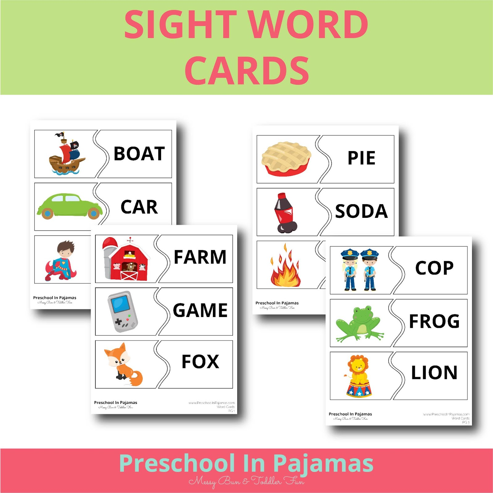 Free Preschool Sight Words Card Printable