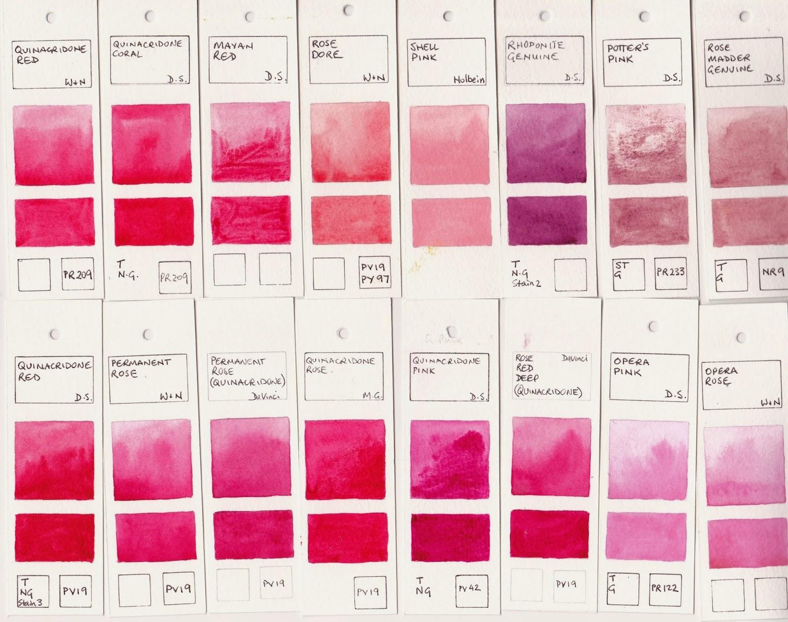 Jane Blundell Artist Watercolour Comparisons 6 Reds