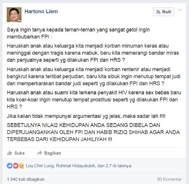 Hartono Liem: Sadarlah Yang Ingin Bubarkan FPI, Nilai-nilai Kehidupan Anda Sedang Diperjuangkan FPI