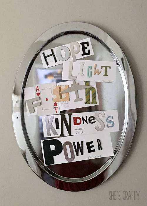 hope, light, faith, kindness, power, letters