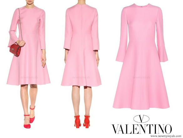 Queen Rania wore VALENTINO Virgin wool and silk dress