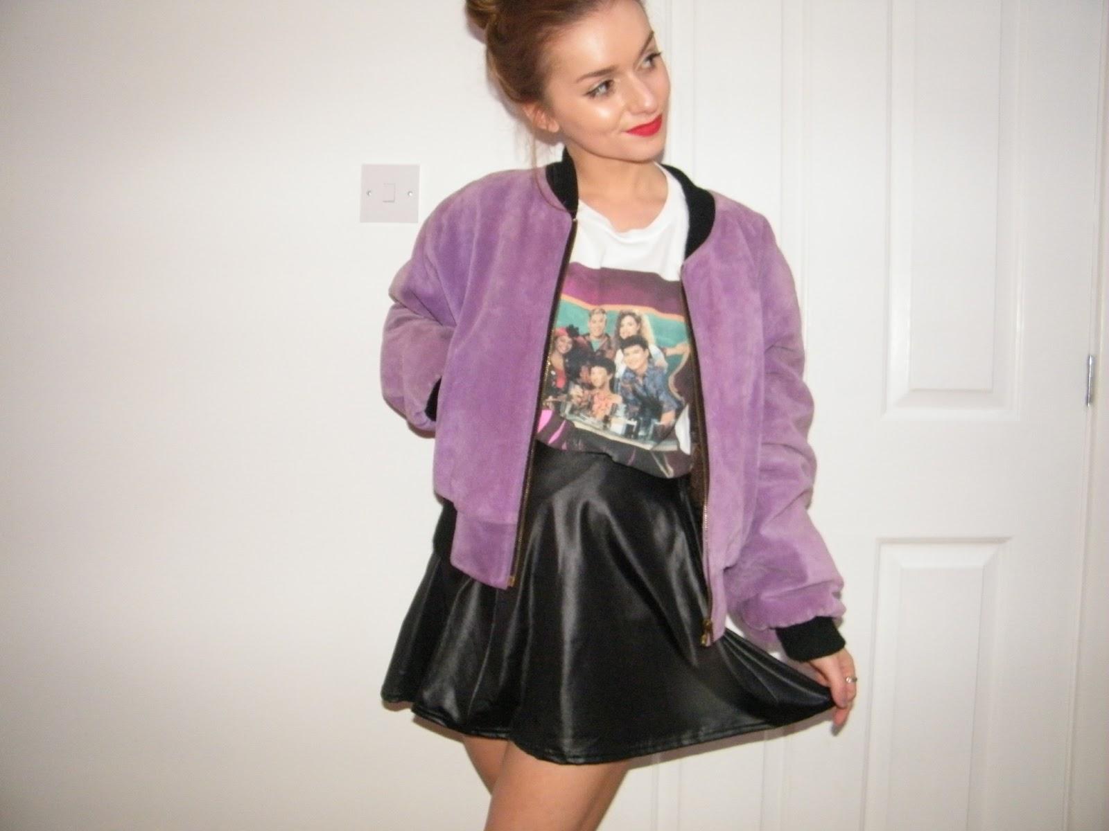 Purple Vintage Bomber Jacket