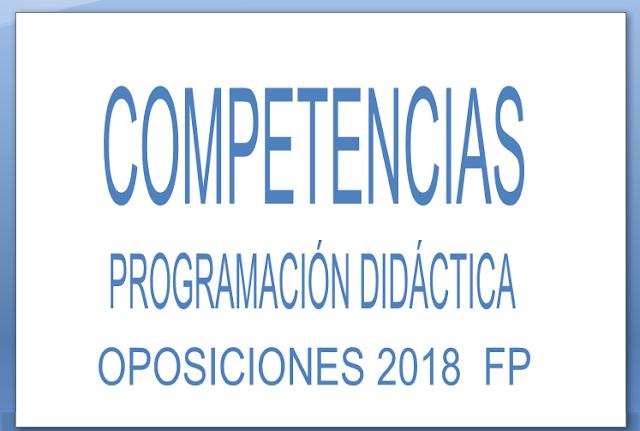 competencias programacion didactica oposiciones FP
