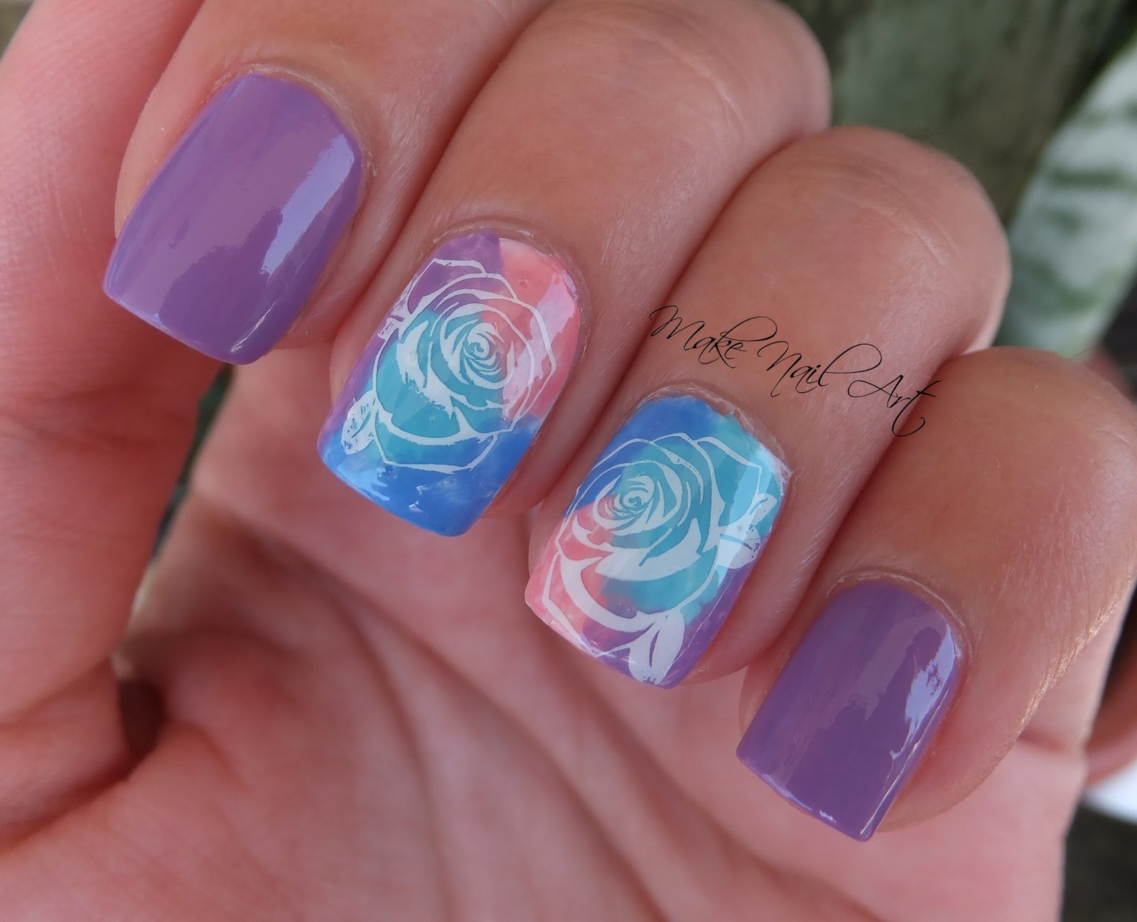 Make nail art watercolor stamping rose nail art design tutorial video tutorial prinsesfo Gallery