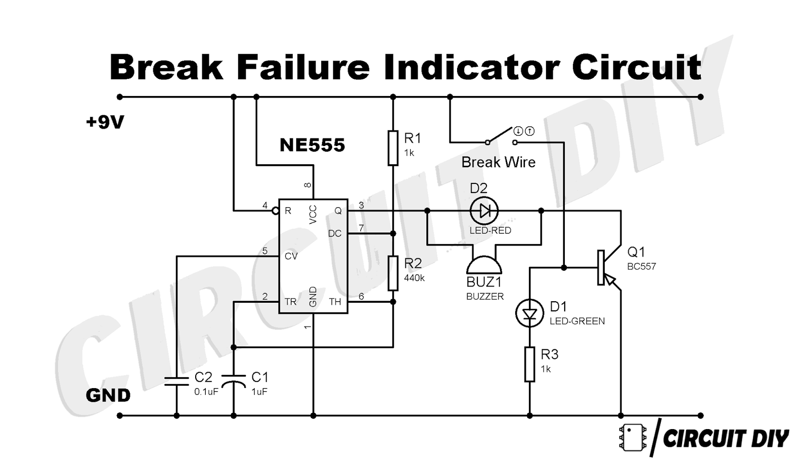 brake failure indicator using 555 timer