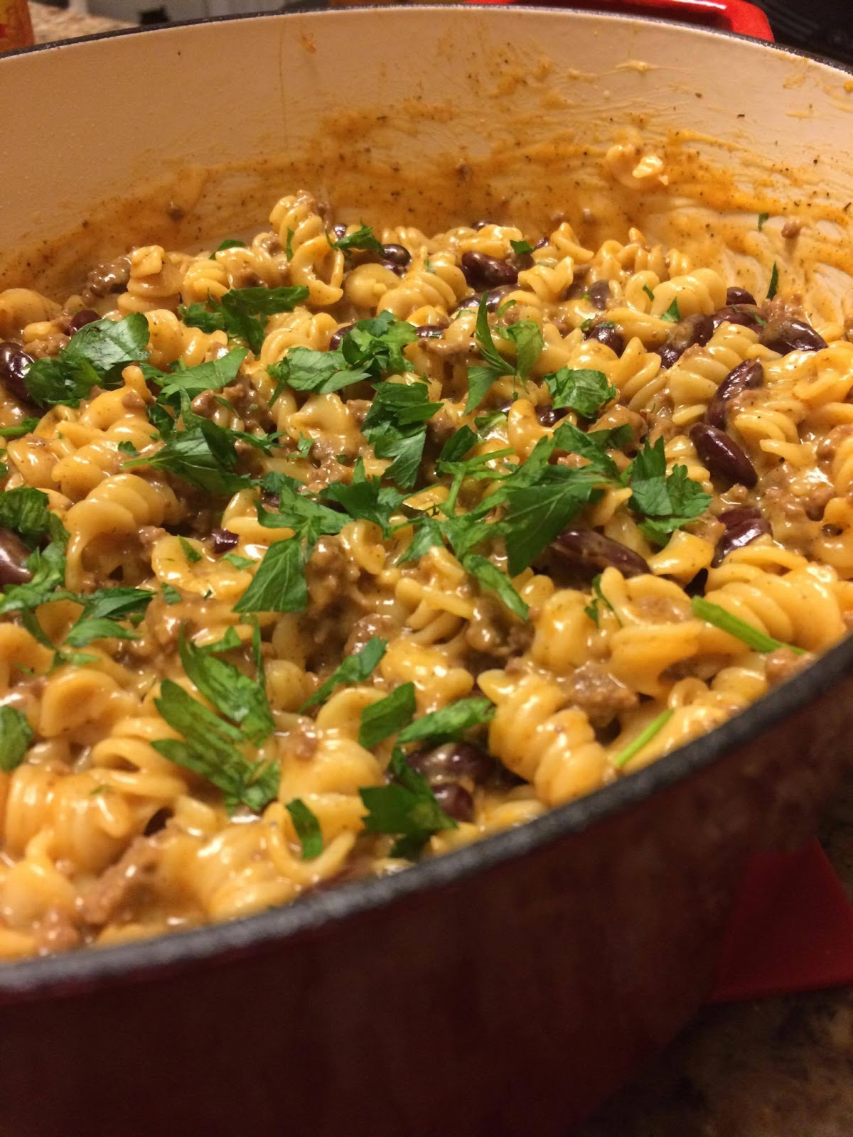 |Dinner in $15| One Pot Cheesy Taco Pasta