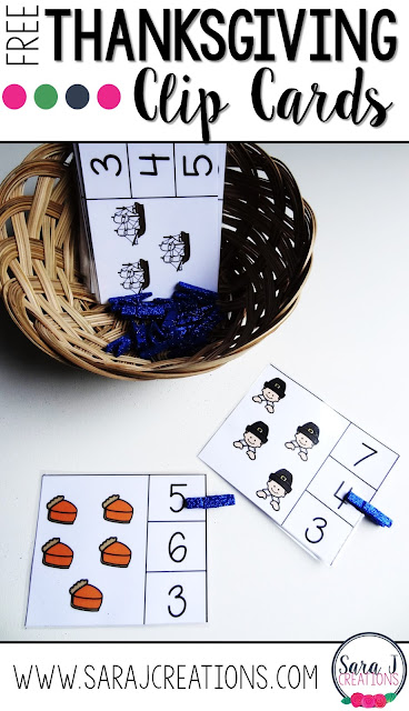 FREE Thanksgiving counting clip cards printables