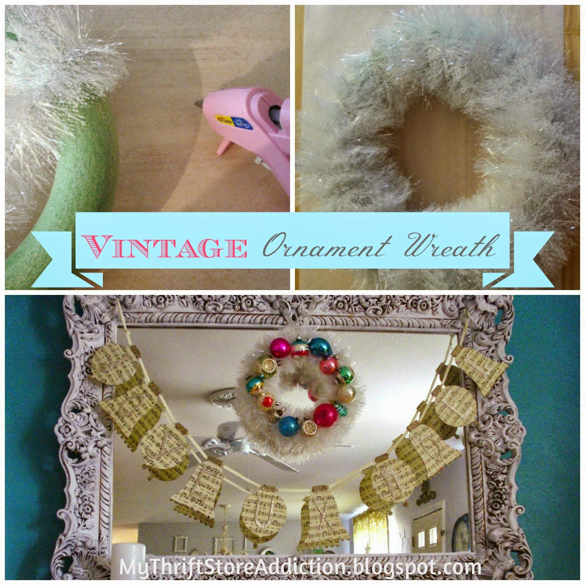 DIY vintage ornament wreath tutorial