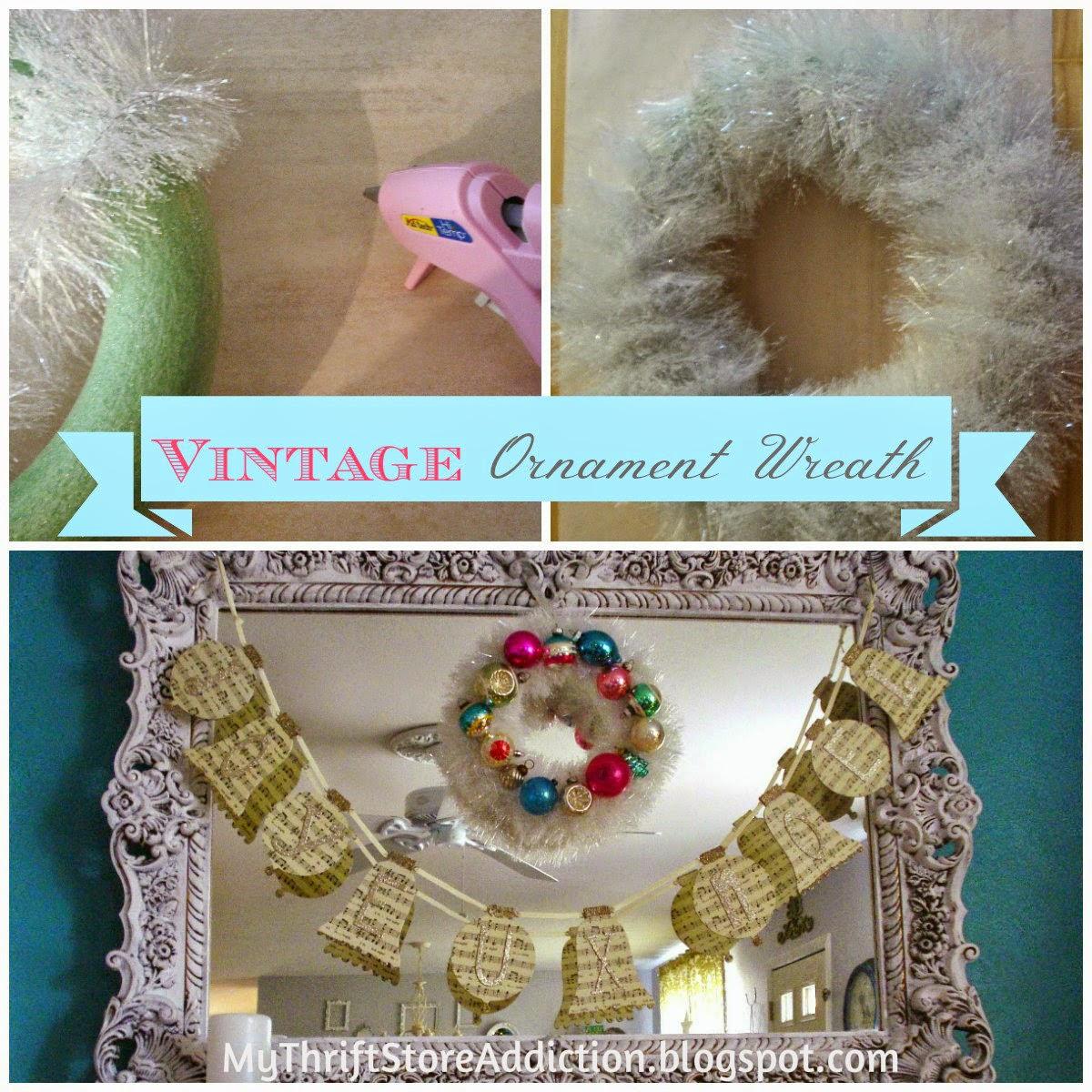 DIY vintage ornament wreath tutorial