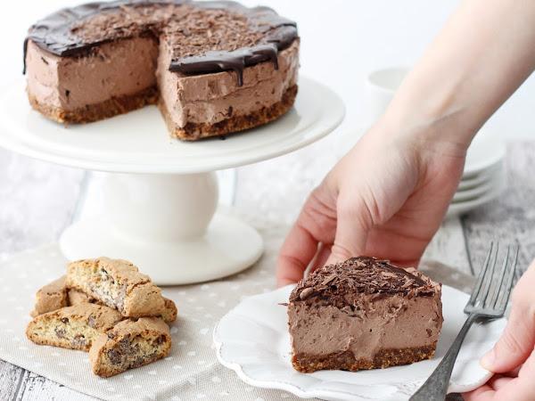 Cheesecake senza cottura al cioccolato e cantucci