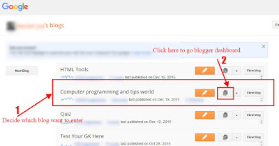 Go to blogger post list