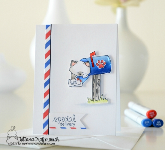 Cat in Mailbox Card by Tatiana Trafimovich | Newton's Happy Mail stamp set by Newton's Nook Designs #newtonsnook #happymail