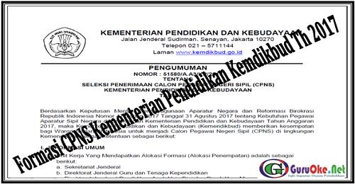 Formasi CPNS Kementerian Pendidikan Kemdikbud Th 2017