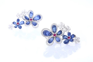 01 Entice floral diamond earrings with Blue Sapphire & Rubies