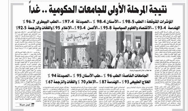 نتيجة المرحلة الأولى للجامعات الاربعاء والطب 98.5% والاسنان 98.4% والصيدله 97% والهندسه 93.4%