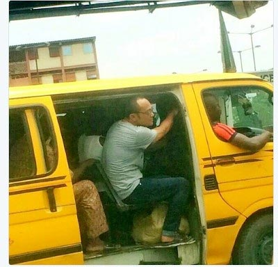 Oyibo Man Pictured Jumping Commercial Bus In Lagos