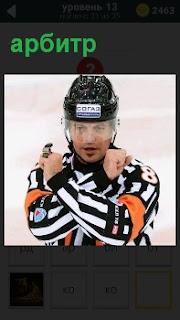 На хоккейном поле  арбитр прерывает матч и скрещивает руки перед собой