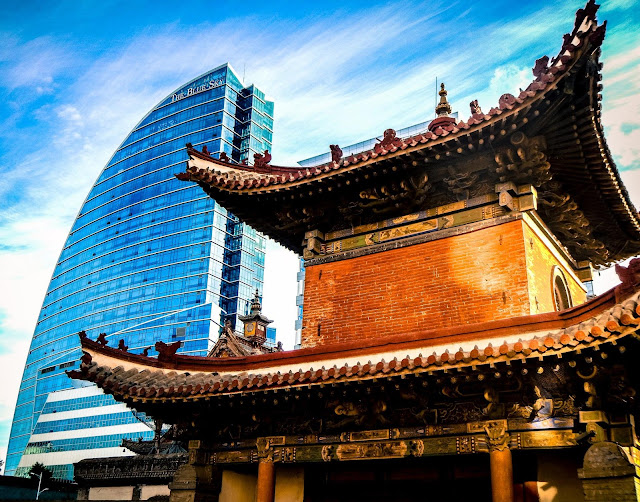 The modern Blue Sky Hotel built overlooking the Choijin Lama Temple and Museum