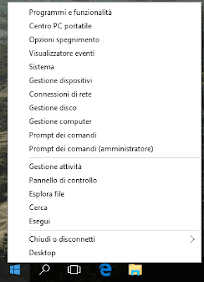 Menu Windows X su Windows 10