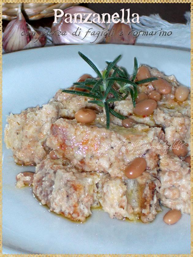 Panzanella con purea di fagioli e rosmarino