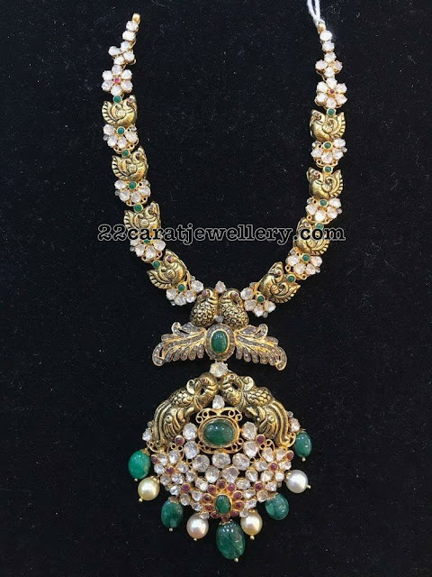 Peacock Necklace with Emerald Drops Pendant