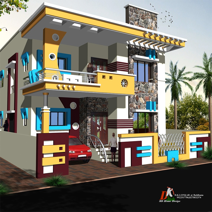 Single Story Yellow Color House Design