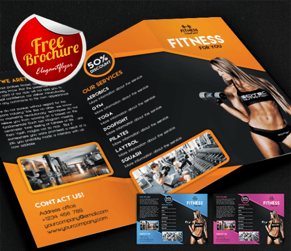 100 Free Premium Brochure Templates Photoshop PSD InDesign AI – Gym Brochure Templates