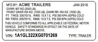 replacement VIN sticker trailer