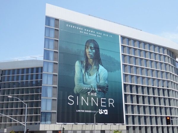 Giant Jessica Biel Sinner series premiere billboard