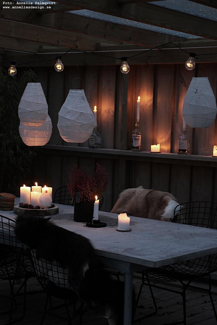 annelies design, webbutik, webshop, nätbutik, nettbutikk, uteplats, trädäck, trädäcket, jul, julkänsla, lanterna, lanternor, ljusslinga, ljusstakar, kugghjul, ljusstake, Oohh kruka, krukor, getskinn, skinn, fäll, betongbord, betong, snowdoll ljus,
