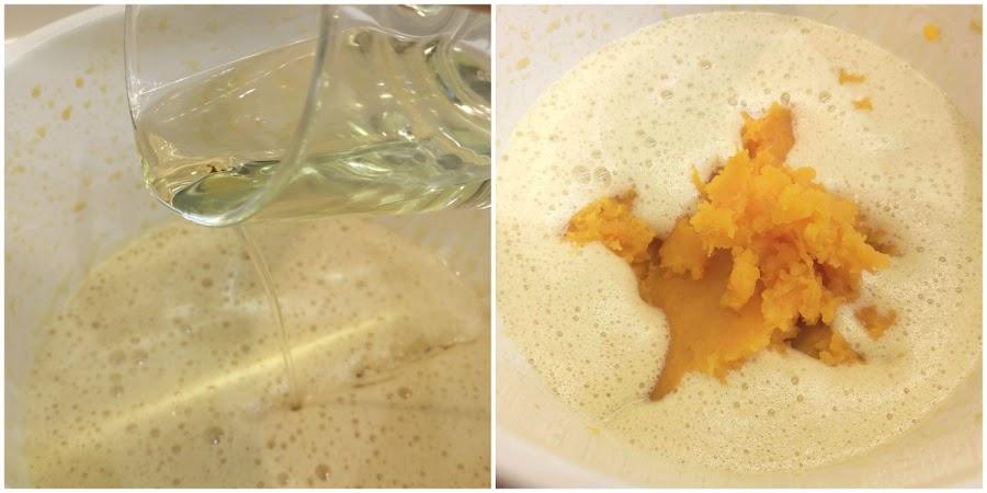Añadir aceite y calabaza triturada