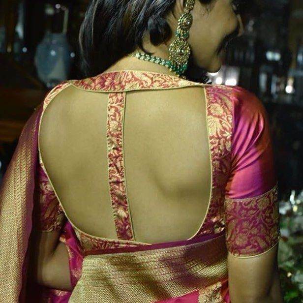 55 Trendy Blouse Back Neck Designs With Borders For Sarees Bling Sparkle