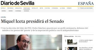 """Captura de Dario de Sevilla con titular """"Miquel Iceta presidirá el Senado"""""""