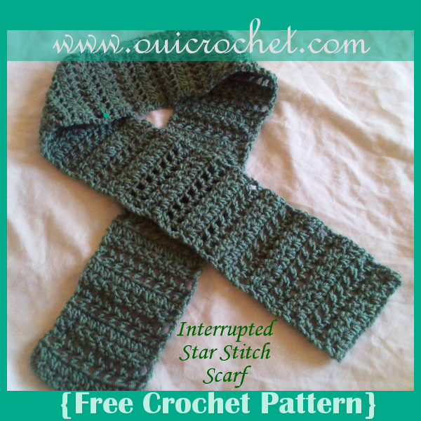 Crochet, Crochet Scarf, Free Crochet Pattern, Star Stitch, Interrupted Star Stitch Scarf,