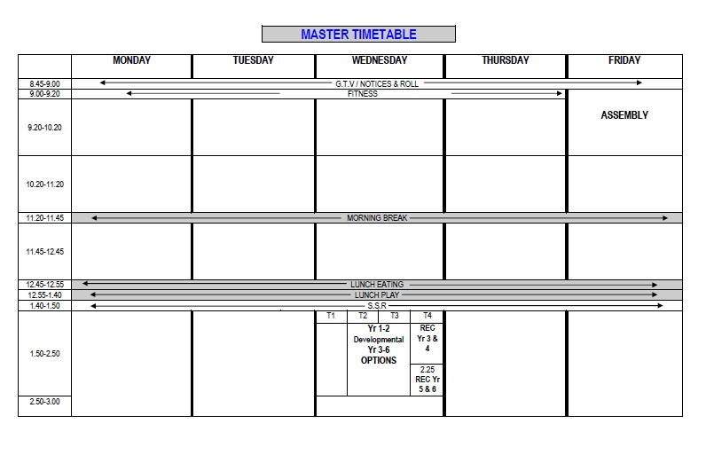 Timetable Templates For School in Excel Format - Excel Template