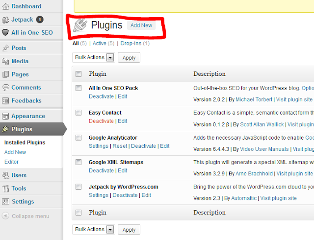 Wordpress plugins page snapshot
