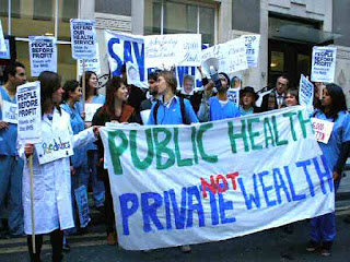 Protest against liberal conservative healthcare changes