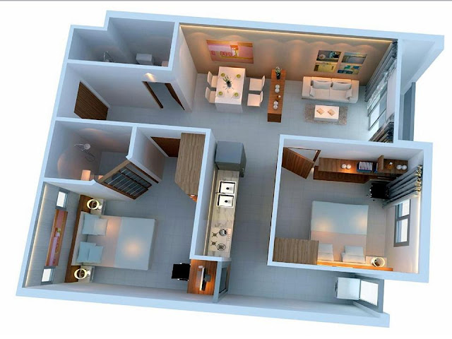 Thiết kế phối cảnh căn hộ 2 phòng ngủ Ehome Akari City