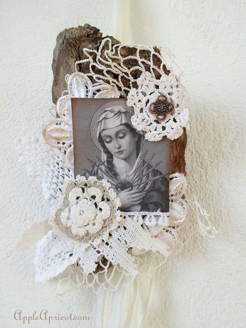 lace collage on tree bark by AppleApricot