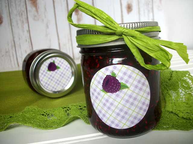 Plaid Black Raspberry mason jar labels