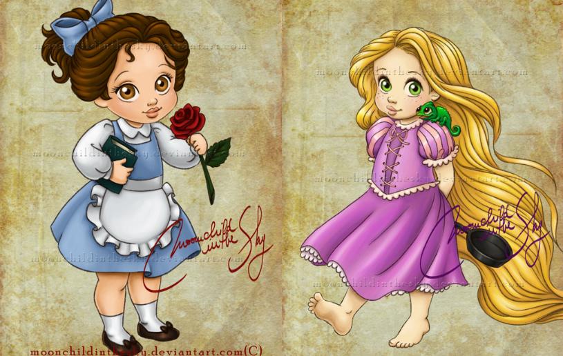 Princesas da Disney como crianças. Ilustrações