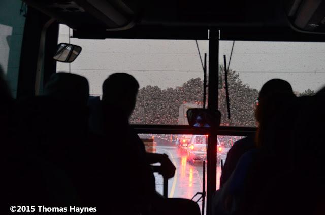 View of rain on bus windshield
