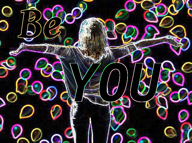 Be You graphic with neon-lined woman and balloons