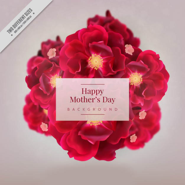 Realistic flowers mother's day background Free Vector