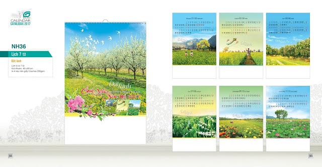 NH36 - Lịch phong cảnh, Lịch treo tường 7 tờ, in lịch, mẫu lịch đẹp